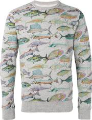 Bellerose , Fish Print Sweatshirt Men Cotton S, Grey