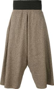 Bless , Tweed Wide Leg Cropped Trousers Unisex Silkcottonlinenflax S, Brown