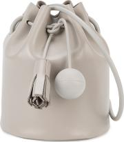 Building Block , Mini Bucket Shoulder Bag Women Leather One Size, Women's, Grey