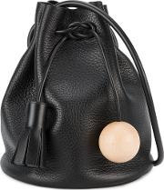 Building Block , Mini Bucket Shoulder Bag Women Woodleather One Size, Black