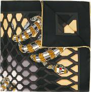Bulgari , Snake Print Scarf Women Silk One Size, Black