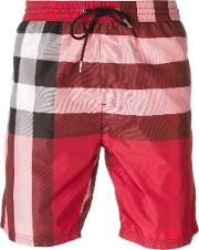 Burberry Brit , Plaid Print Swim Shorts Men Polyester S, Red