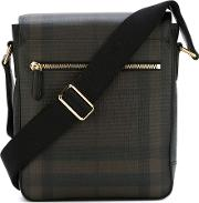 Burberry , Checked Messenger Bag Men Pvc One Size, Brown