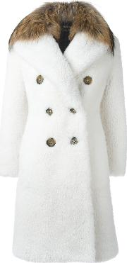 Burberry , Raccoon Fur Collar Double Breasted Coat Women Lamb Skinsheep Skinshearlingacrylicracoon Fur 44, White