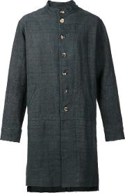 By Walid , Band Collar Buttoned Coat Men Linenflax S, Grey