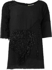 By Walid , Embellished T Shirt Women Cotton L, Black