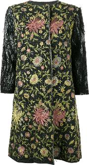 By Walid , Floral Embroidered Coat Women Silkcotton S, Black