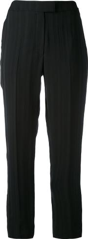 Cacharel , Cropped Striped Trousers Women Cottonviscose 36, Black