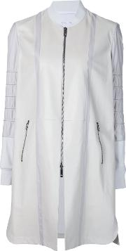Callens , Panelled Zip Coat Women Leatherpolyamidespandexelastaneviscose 42, White
