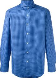 Canali , Fine Check Shirt Men Cotton 39, Blue