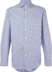 Canali , Patterned Shirt Men Cotton 38, Blue