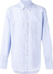 Canali , Plain Shirt Men Linenflax S, Blue