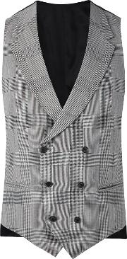 Caruso , Plaid Double Breasted Waistcoat Men Cuprowool 54, Grey