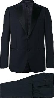 Caruso , Two Piece Dinner Suit Men Cupromohairwool 48, Blue