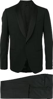 Caruso , Two Piece Tuxedo Men Spandexelastanecuprowool 52, Black