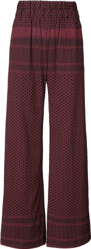 Cecilie Copenhagen , High Waisted Palazzo Pants Women Cotton 1, Red