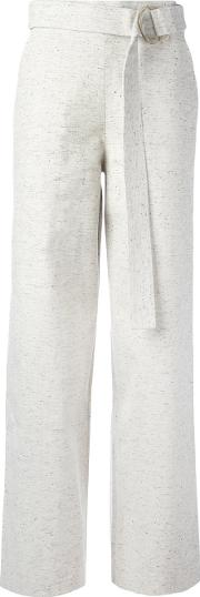 Charlie May , Belted Wide Leg Trousers Women Cotton 6, White