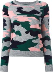 Chinti And Parker , Camouflage Intarsia Jumper Women Cashmerewool M, Green
