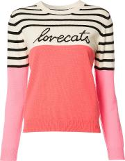 Chinti And Parker , Cashmere Embroidered Text Striped Jumper Women Cashmere M, White