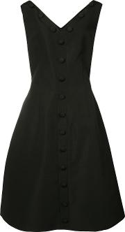 Christian Siriano , Button Front Pleated Dress Women Silk 10, Black