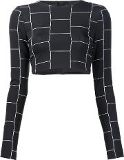 Christian Siriano , Cropped Check Print Top Women Acetate 2, Black
