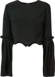 Christian Siriano , Scalloped Cropped Blouse Women Silk Crepepolyesterpolyurethane 4, Black