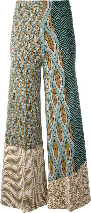 Circus Hotel , Printed Panel Palazzo Pants Women Polyesterviscose 42, Green