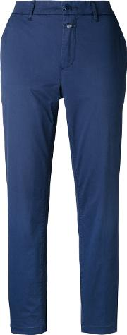 Closed , Chino Trousers Women Cottonspandexelastane 27, Blue