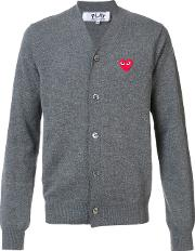 Comme Des Garcons Play , Embroidered Heart Cardigan Men Wool M, Grey