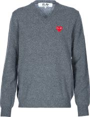 Comme Des Garcons Play , Embroidered Heart Jumper Men Wool L, Grey