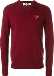 Comme Des Garcons Play , Embroidered Heart Jumper Men Wool M, Red