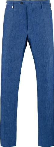 Corneliani , Tapered Trousers Men Linenflax 56, Blue