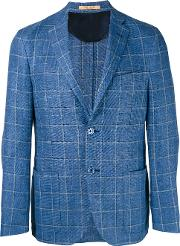 Corneliani , Woven Check Blazer Men Cuprolinenflaxvirgin Wool 52, Blue
