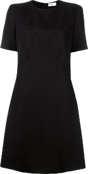 Courreges , Crossover Stitching Dress Women Polyesterviscosewool 44, Black
