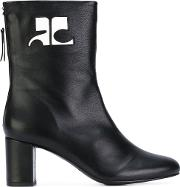 Courreges , Logo Patch Ankle Boots Women Lamb Skinleather 40, Black