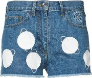 Courreges , Planet Patch Denim Shorts Women Cottonlamb Skin 38, Blue