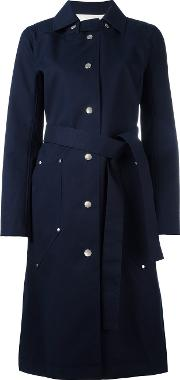 Courreges , Single Breasted Coat Women Cotton 36, Blue