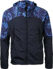 Cp Company , Printed Shoulders Hooded Jacket Men Nylon 46, Blue
