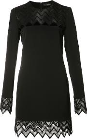 David Koma , Sheer Cut Off Panel Dress Women Polyesterspandexelastaneacetateviscose 8, Black