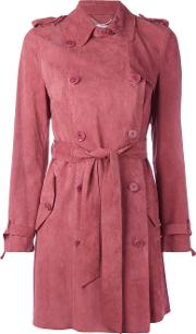 Desa Collection , Double Breasted Belted Coat Women Suede 40, Pinkpurple