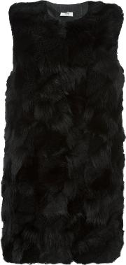 Desa Collection , Fur Gilet Women Sheep Skinshearlingacetateviscose 40, Black