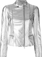 Desa Collection , Metallic Grey Jacket Women Suedepolyesterspandexelastane 38