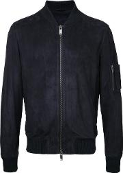 Desa Collection , Zipped Bomber Jacket Men Suede 50, Blue