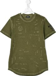 Diesel Kids , Only The Brave Printed T Shirt Kids Cotton 14 Yrs, Green