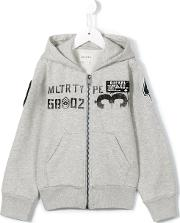Diesel Kids , Patch Embroidered Hoodie Kids Cottonpolyester 6 Yrs, Grey