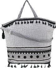 Dodo Bar Or , Embroidered Oversized Tote Women Cotton One Size, Black
