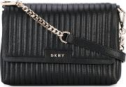 Donna Karan , Textured Shoulder Bag Women Lamb Skin One Size, Black