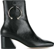 Dorateymur , Nizip Grained Leather Ankle Boots Women Leathermetal 39, Black