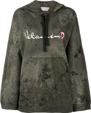 Drifter , Acid Wash Ventus Embroidered Hoodie Women Cotton S, Black