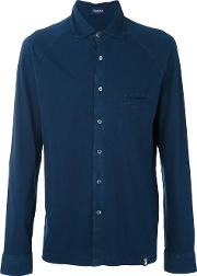 Drumohr , Chest Pocket Shirt Men Cotton M, Blue